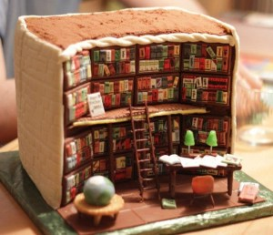A splendid edible tribute to libraries created by baker Kathy Knaus. If your library is closed by the penny pinchers just bake your own. Go to Kathy's Facebook page too see more examples of her entertaining baking. Many thanks to Val for sending this to the blog